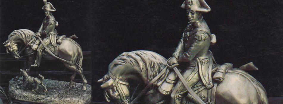Statua carabiniere a cavallo con cane